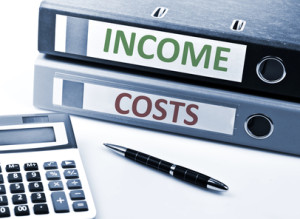 Income and Costs write on folder